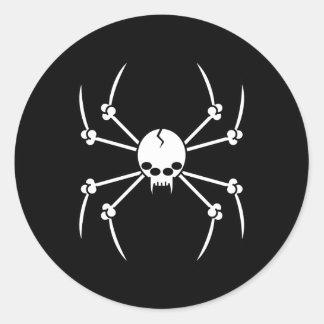 Spider Skull Classic Round Sticker