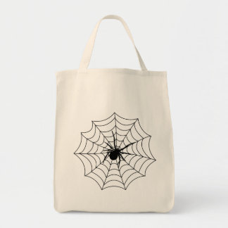 Spider Spidernet Insects Arachnida Black Art Grocery Tote Bag