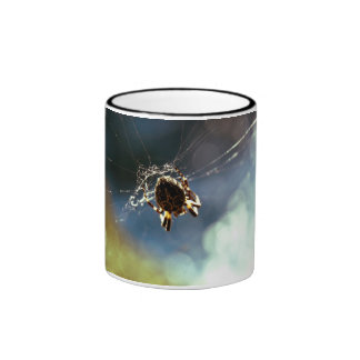 Spider Themed, A Spider Weaving Its Web To Catch T Ringer Coffee Mug