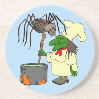 Spider watching the witch chef coasters