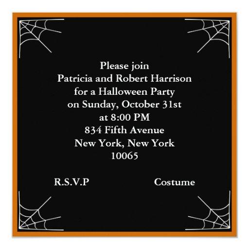 Spider Web 5.25x5.25 Square Paper Invitation Card