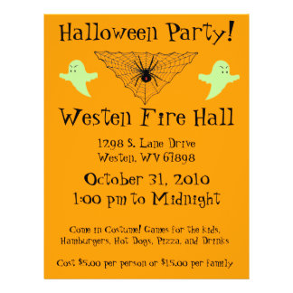 Spider Web and Ghost Halloween Party Flyer