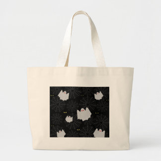 Spider web and ghosts pattern large tote bag