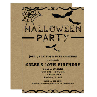 Spider Web & Bats Cute Halloween Costume Party Card