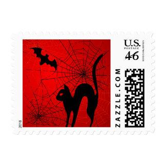 Spider Web Black Cat Bat Halloween Postage