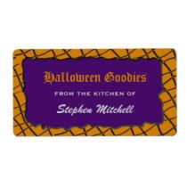 Spider Web Customizable Halloween Baking Labels
