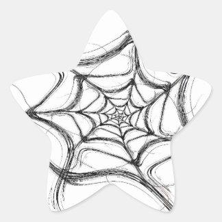 Spider Web Fractal Background Star Sticker