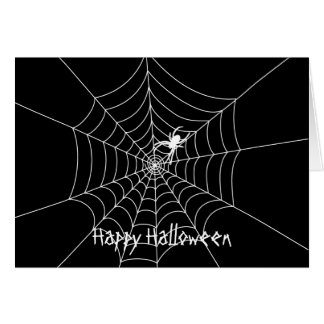 Spider Web Halloween Greeting Card- With Greeting