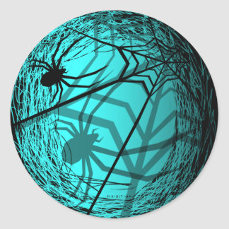 Spider Web Halloween Sticker Blue