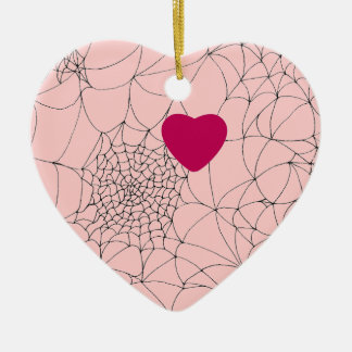 Spider Web Heart Ceramic Ornament