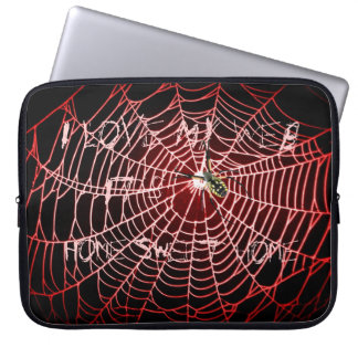 "Spider web ""I Love My Web, It's Home Sweet Home"" Laptop Sleeve"