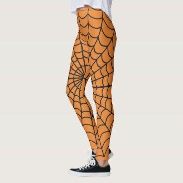 Halloween Themed Spider Web Pattern ~ Orange ~ Halloween ~ Leggings