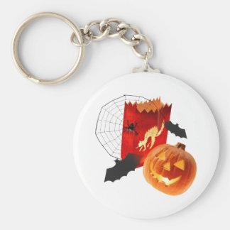 Spider Web Pumpkins and Bat Basic Round Button Keychain