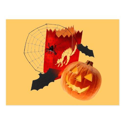 Spider Web Pumpkins and Bat Postcard