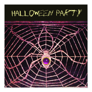 SPIDER & WEB PURPLE AMETHYST BLACK HALLOWEEN PARTY CARD