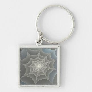 Spider Web Silver-Colored Square Keychain
