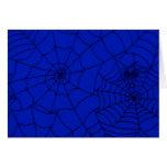 Spider Web, Spider Net, Cobweb - Blue Black Greeting Card