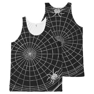 Spider Web Vintage Graphic Creepy Spider All-Over Print Tank Top