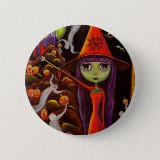Spider Web Witch Halloween Button