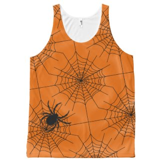 Spider Web with Spider on Orange Halloween