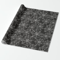 Spider Webs Black White Halloween Creepy Pattern Wrapping Paper