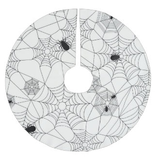 Spider Webs Halloween Pattern Brushed Polyester Tree Skirt