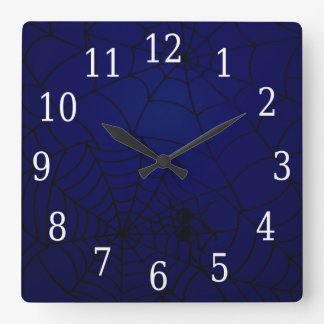 Spider Webs Square Clock