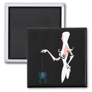 Spider Witch 2 Inch Square Magnet