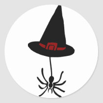 spider witch hat classic round sticker