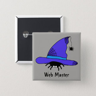 Spider Witch Hat Halloween Purple Web Master Funky Button