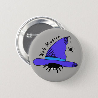 Spider Witch Hat Halloween Purple Web Master Funky Pinback Button