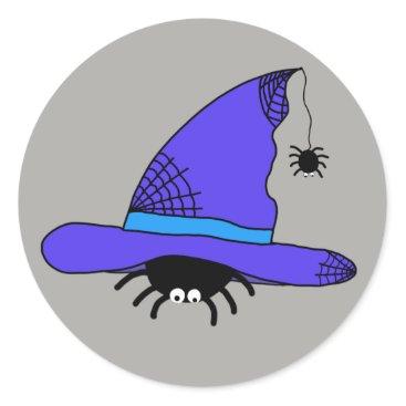 Halloween Themed Spider Witch Hat Halloween Purple Web Spiders Blue Classic Round Sticker