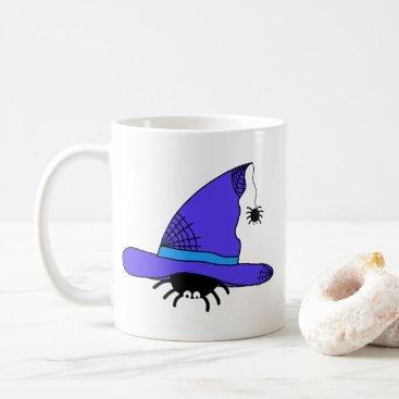 Halloween Themed Spider Witch Hat Halloween Purple Web Spiders Blue Coffee Mug