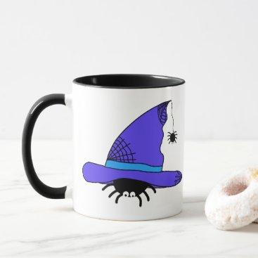 Halloween Themed Spider Witch Hat Halloween Purple Web Spiders Blue Mug