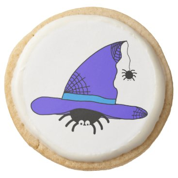 Halloween Themed Spider Witch Hat Halloween Purple Web Spiders Blue Round Shortbread Cookie