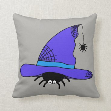 Halloween Themed Spider Witch Hat Halloween Purple Web Spiders Blue Throw Pillow