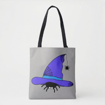 Halloween Themed Spider Witch Hat Halloween Purple Web Spiders Blue Tote Bag