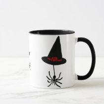 spider witch hat mug