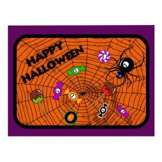 Spider with candies postcard