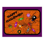 Spider with candies postcards