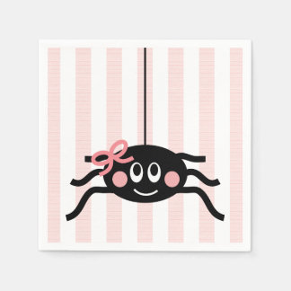 Spider with Pink Bow Paper Napkin