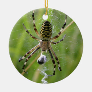Spider with prey ceramic ornament