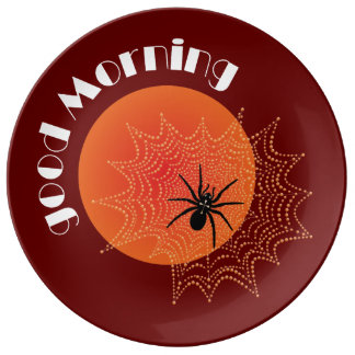 Spider with rope drops in the morning plate