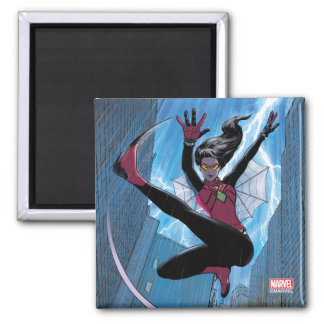 Spider-Woman Getting The Drop On Villain 2 Inch Square Magnet