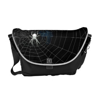 Spidermania, white spider in web messenger bag