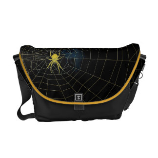 Spidermania, yellow, gold spider in web courier bag