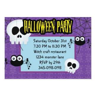 Spiders all over Halloween Party invitation