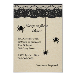 Spiders and Lace Costume Party Invite on parchment