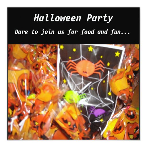 Spiders and Pumpkins Halloween Party Invitation