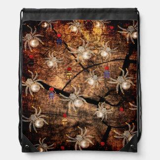 Spiders In Tree Stump Drawstring Bag